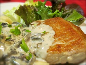 Pork Chop in Tarragon and White Wine Cream Sauce