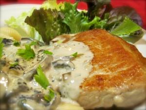 Pork Chop in Tarragon and White Wine Cream Sauce